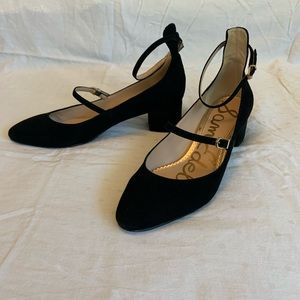 Sam Edelman black suede mary jane block heel, 10